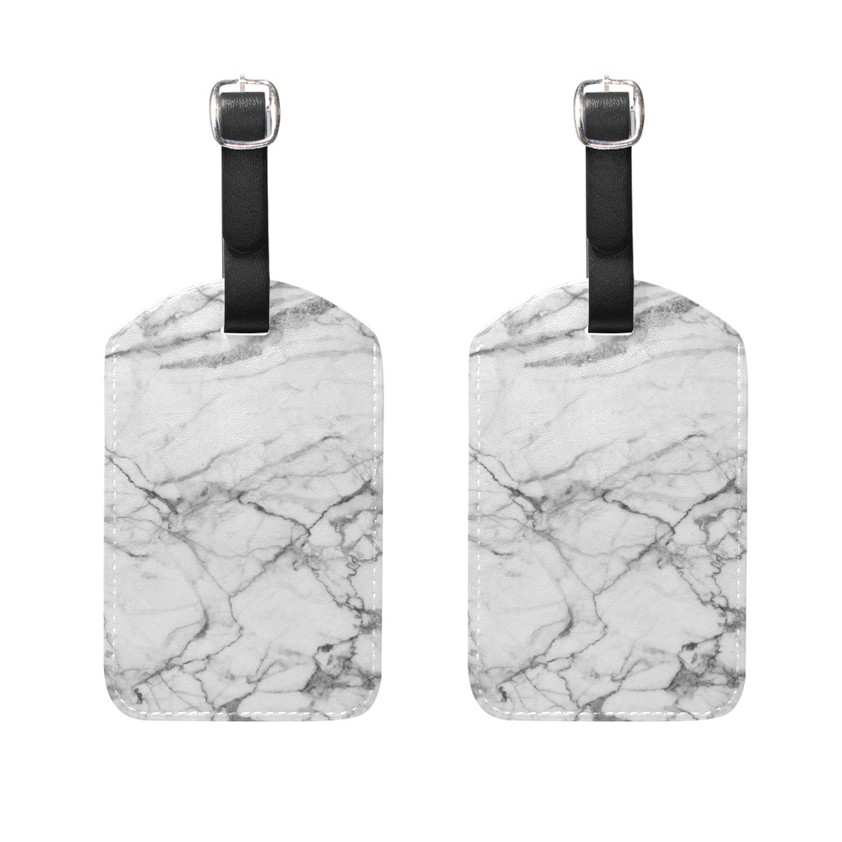 Set of 2 Luggage Tags Marble Pattern Suitcase Labels Travel Accessories