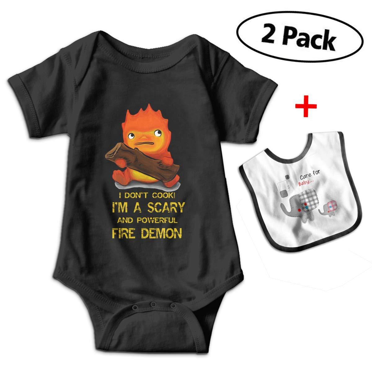 Howl\'s Moving Castle Calcifer Baby Bodysuits Funny Short Sleeve Boy Girl