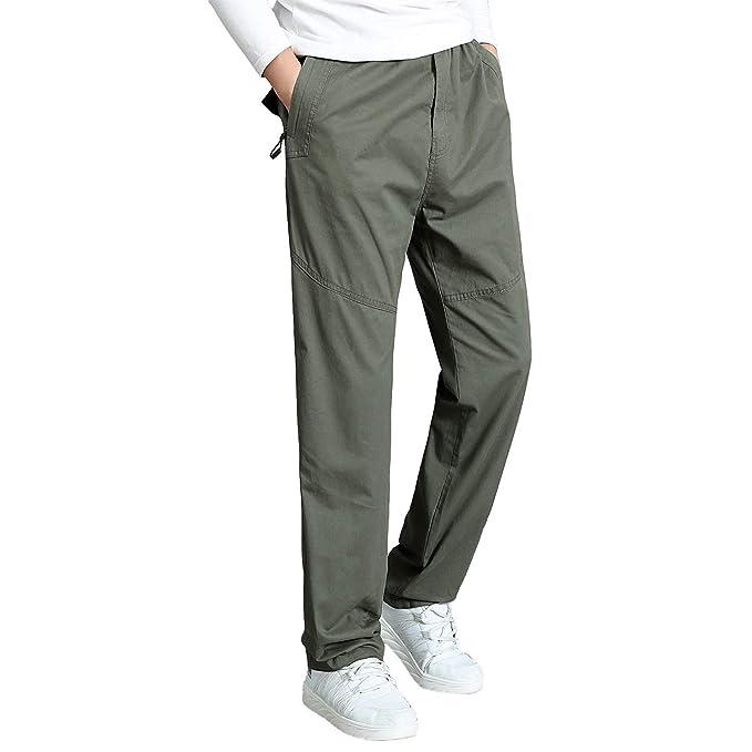 5e6549fabb Gmardar Pantaloni Uomo Elegante con Tasche Laterali Zip Elastica Vita  Cotone Dritti Larghi Fit Casual Regular Taglie Forti Diversi Colori:  Amazon.it: ...