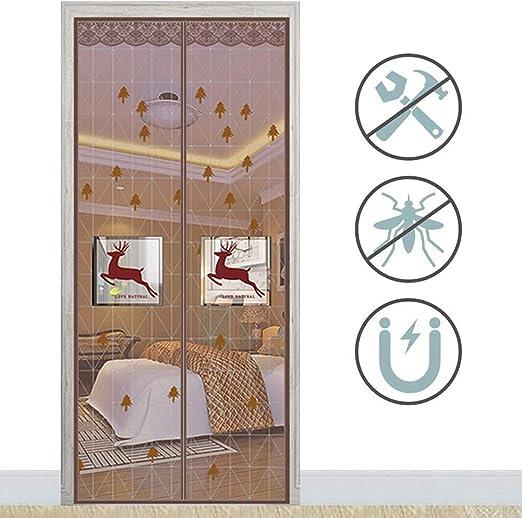 ZPEE Mosquitera Magnética para Puertas Puerta De La Pantalla De Vuelo,Sello De Marco Completo Polvo-Prueba Pantalla De Puerta Magnética,Ventana Francesa Color Café 90x195cm(35.4x76.8inch): Amazon.es: Hogar