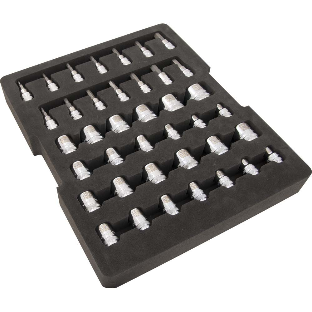 40 Pc. Chrome Socket Set, 3/8'' Drive, Laser-Etched Sockets, Includes 6 Point SAE and METRIC Standard Sockets, SAE and Metric Hex Head Sockets, Foam Storage Tray