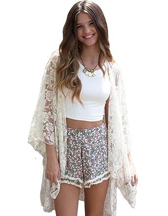 6bbb8ebd57 MIXMAX Women's Lace Crochet Kimono Cardigan Beachwear Bikini Cover Up Blouse  Dress at Amazon Women's Clothing store:
