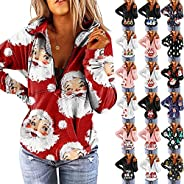 Womens Christmas Blouses 1/4 Zip Up Pullover Long Sleeve Funny Cute Xmas Printed Activewear Running Casual Blo