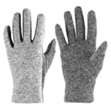 J & J Women Touchscreen Wool Gloves for Cold Weather Daily Commute Driving Walking Running Dog Walking (Gray)