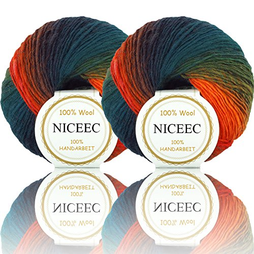 t Yarn 100% Wool Gradient Multi Color Yarn for Crocheting Knit Total Length 180m×2(196yds×2,50g×2)-10 ()