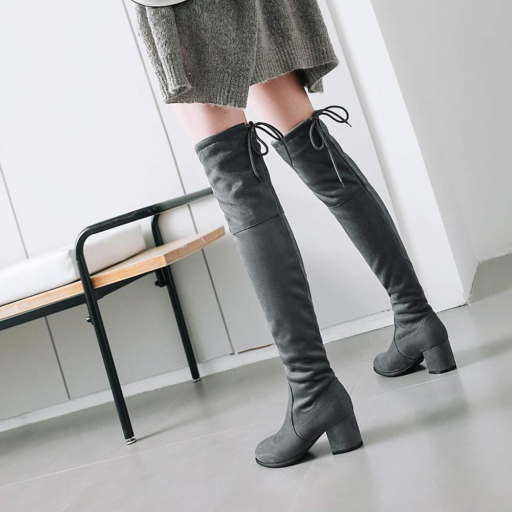 Aisun Damen Klassisch Overknee Mittelhoch Absatz Stiefel Schnürung Elastisch Langschaft Stiefel Absatz ecc60f