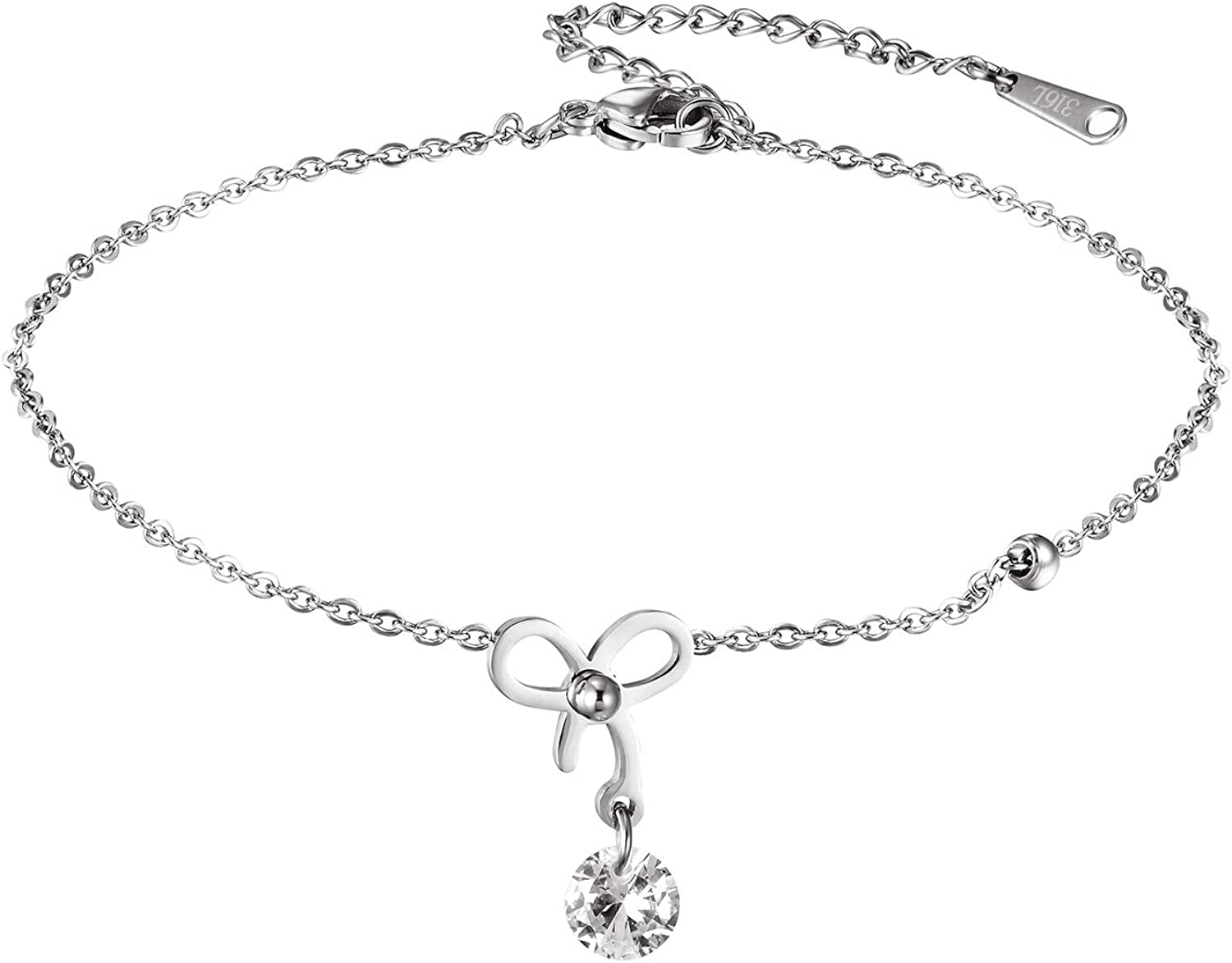 Hobbyant Simple Personality Bow Hanging Drill Anklet for Women