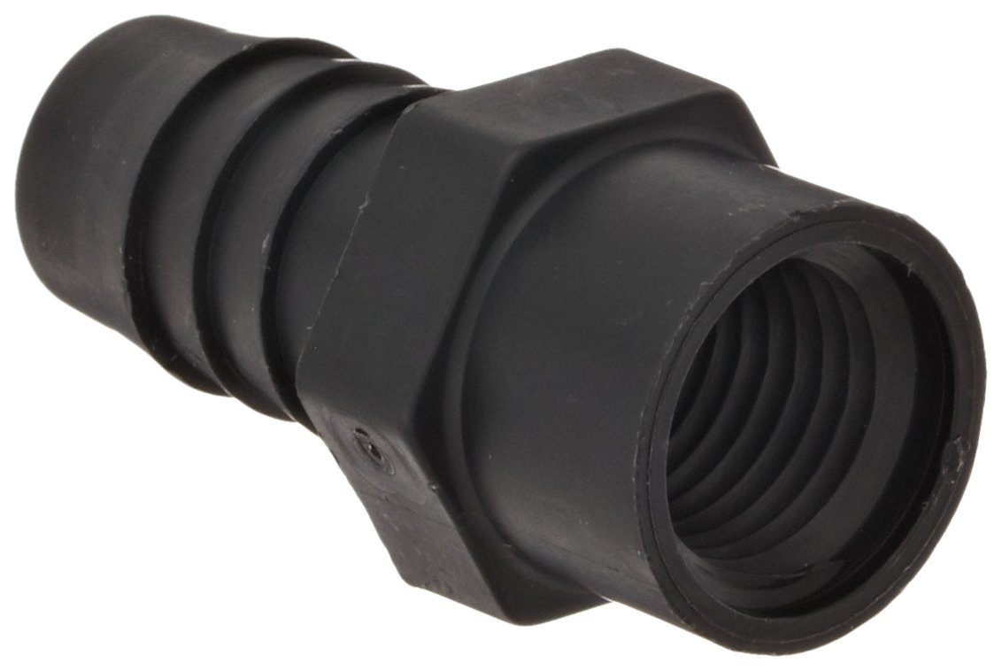 Thogus Polypropylene Tube Fitting, Adapter, Black, 3/8'' NPT Female x 5/8'' Barbed (Pack of 10)