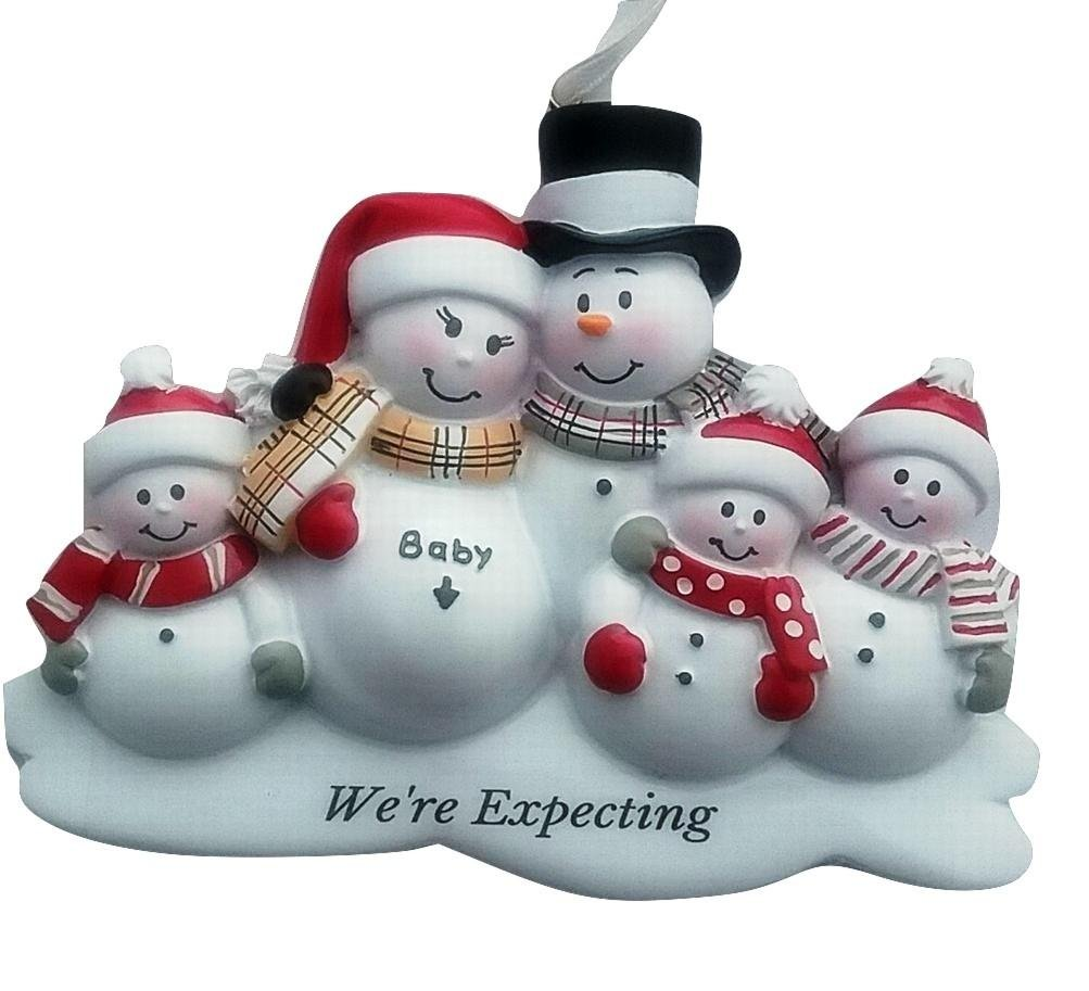 Amazon: Family Of 4 We're Expecting Snowmen Personalized Christmas  Ornament By Ornamentstokeep: Home & Kitchen