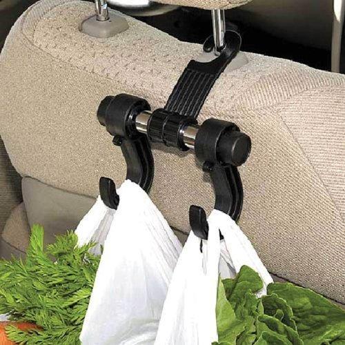 UNIVERSAL HEAD REST MOUNT TWIN HOOK IN-CAR BAG//UMBRELLA HOLDER
