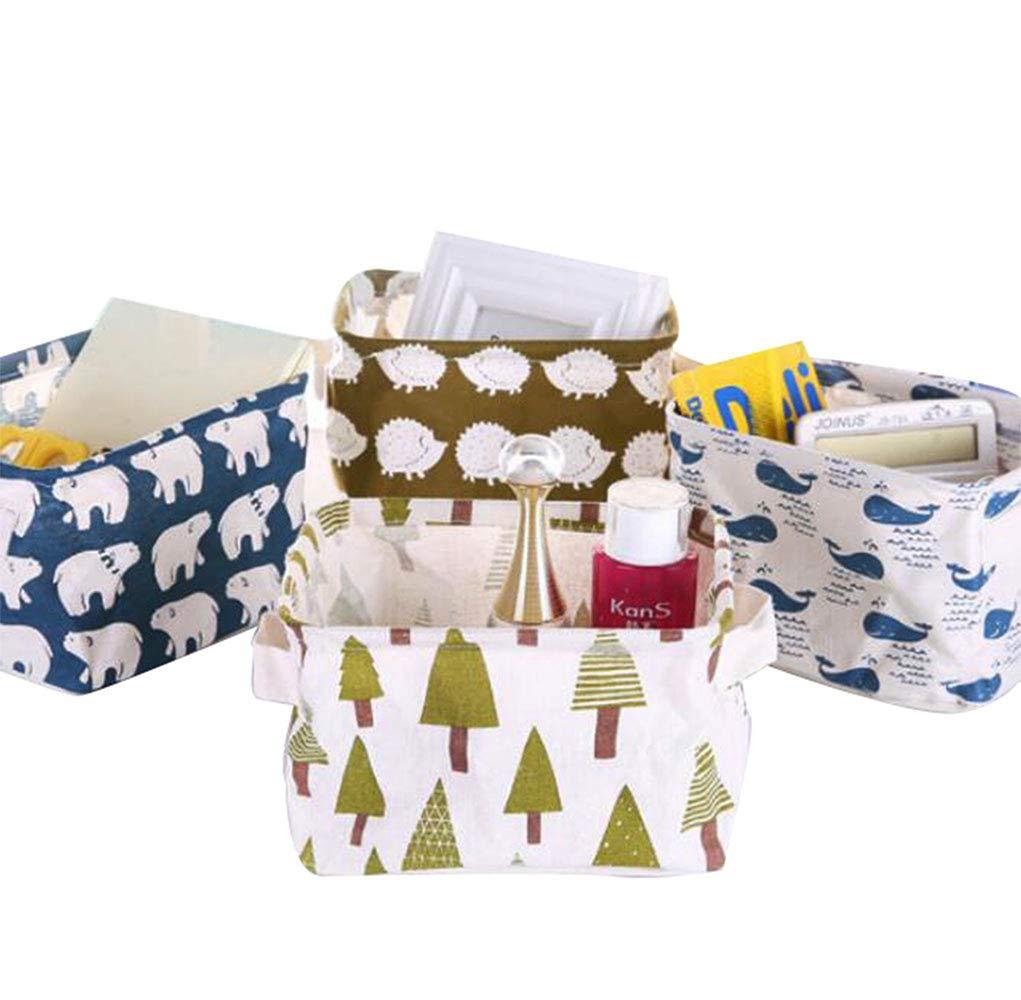 PUTING Set of 4 Pack Storage Basket Bins, Home Decor Canvas Organizers Bag, Storage Bins Basket for Adult Makeup, Baby Toys Liners, Books