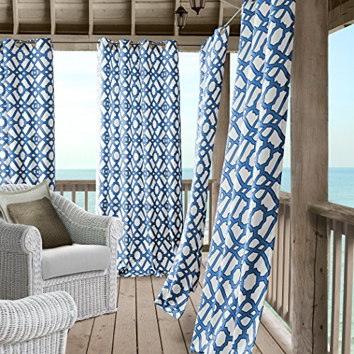 Blue Lattice Top (Marin Contemporary Print Indoor/Outdoor Grommet Top Single Panel Window Curtain, Lattice Ironwork Design Drape/Curtain Patio, Gazebo and Pergola, 50 Inch Wide X 108 Inch Long, Blue)