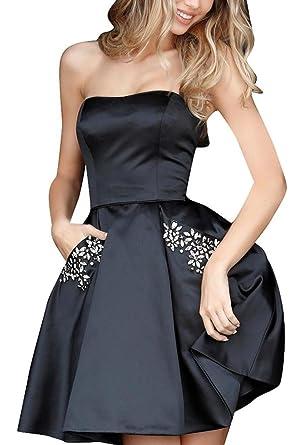 Bbcbridal Womens Short Satin Homecoming Dresses Strapless Beaded