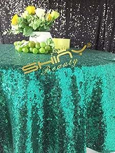 shinybeauty boda 120–Manteles para tarta de Boda superposición redonda de lujo más en stock-green