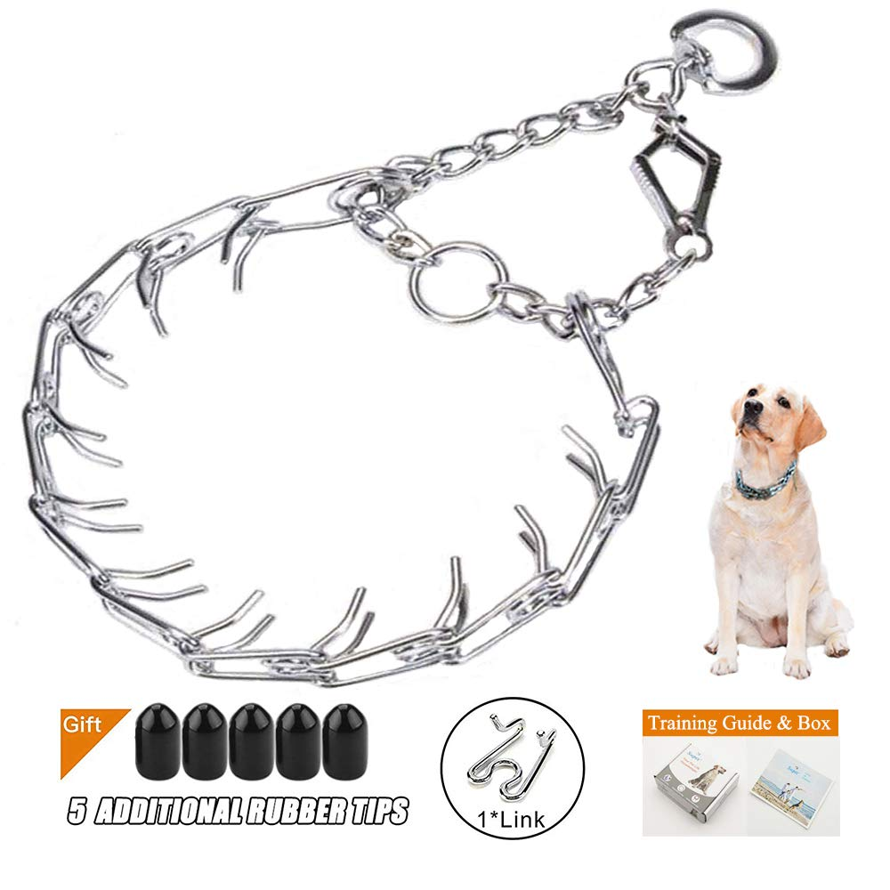 Supet Adjustable Prong Training Collar with Quick Release, No-Choke Pinch Collar, Chrome-Plated for Maximum Strength(Packed with One Extra Links)