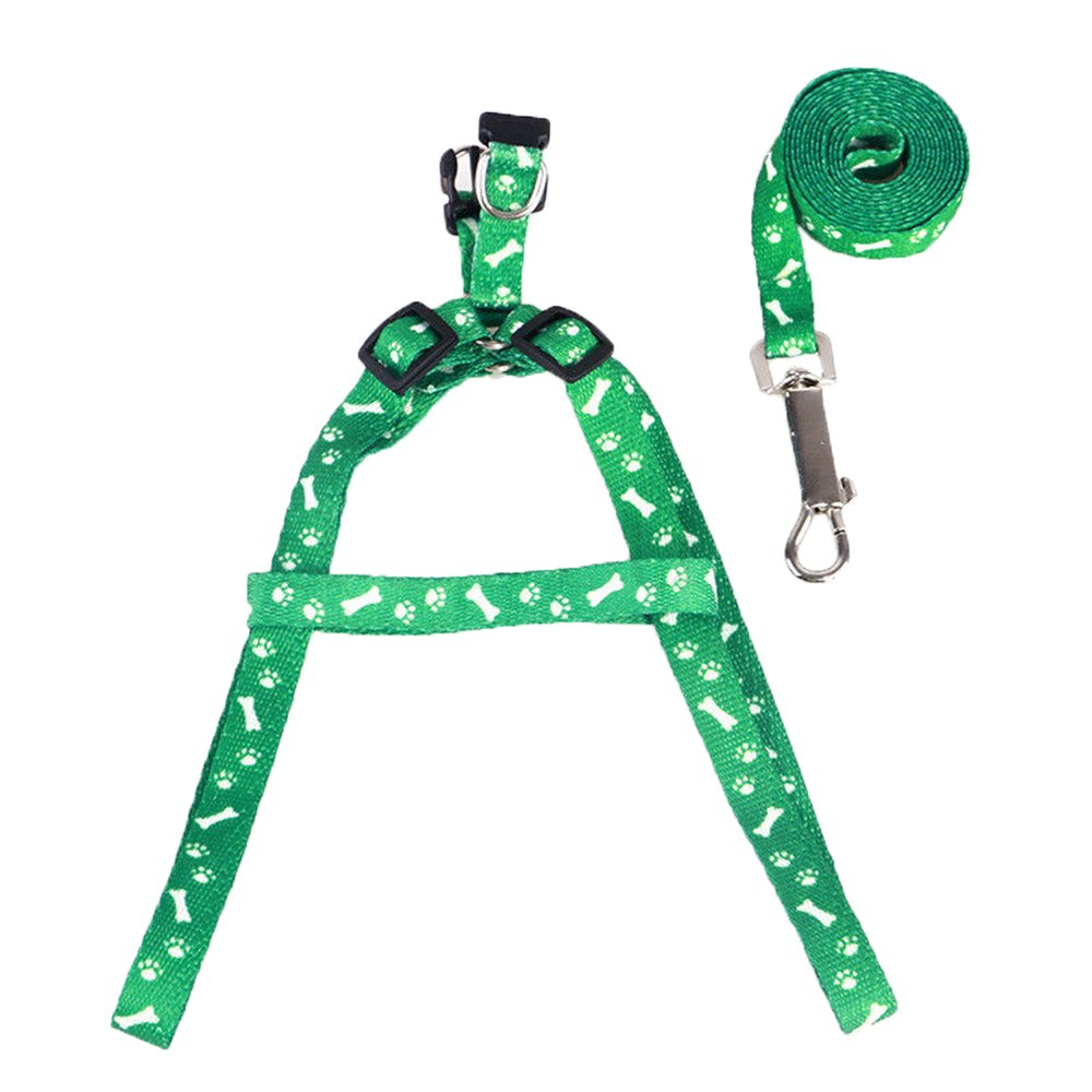 Double Handle Pet Dog Cat Lead Leash Traction Rope Adjustable Nylon Harness Strap with Metal Hook for Greater Control Safety Training (Green)