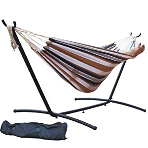 Prime Garden 9' Double Hammock with Space Saving Steel Hammock Stand, Elegant Desert Stripe