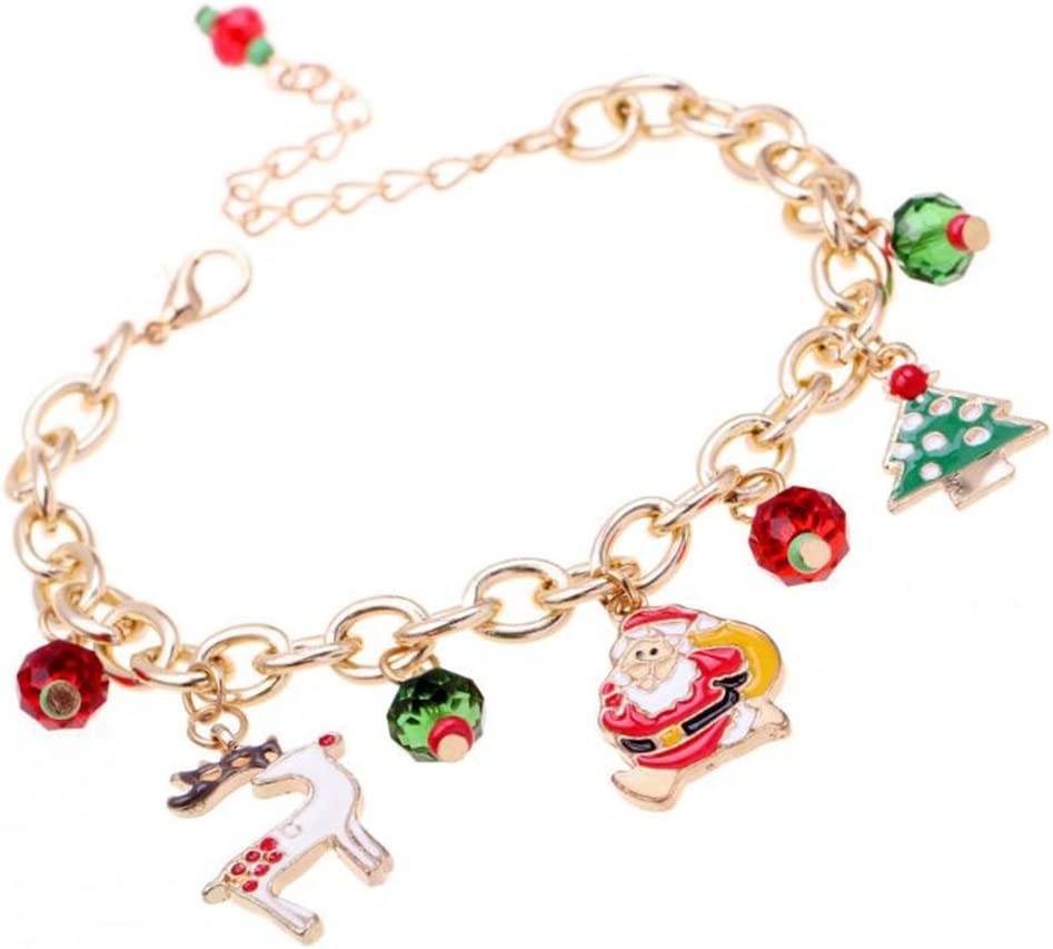 Westeng Christmas bracciale Charm perline mano catena ciondolo a forma di Babbo Natale da donna o ragazza bracciale in metallo regalo di Natale