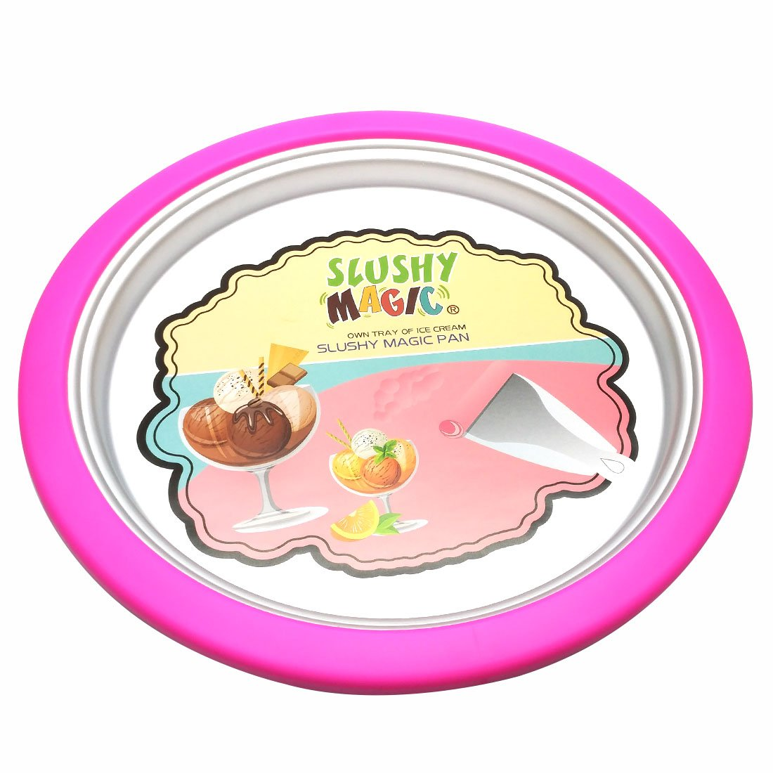Instant Ice Cream Maker, Ice roll pan (Pink)