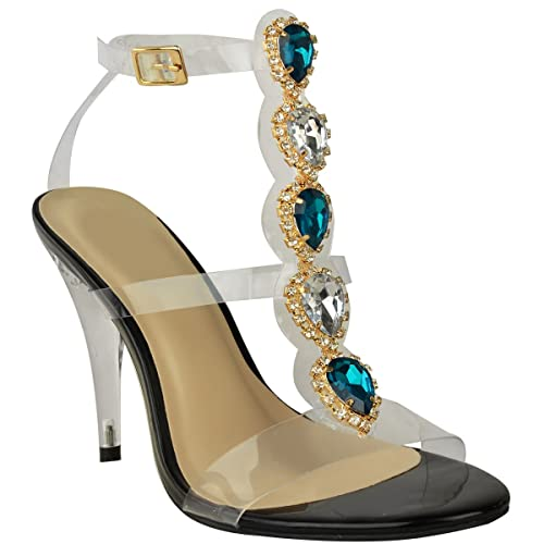 b9ae5c7ddd Amazon.com | Fashion Thirsty High Heel Party Jewel Diamante Perspex Prom  Wedding Sandals Size | Sandals
