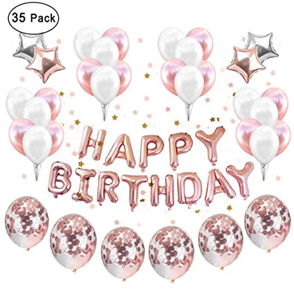 IAMGO Rose Gold Party DecorationRose Coffitti Supplies Theme Balloons With Happy Birthday