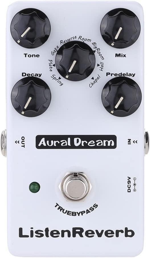 Aural Dream Listen Reverb Guitar Effects Pedal with 8 Reverb modes and Predelay control including Spring,Plate,Gate,Hall and Church Reverb,True Bypass