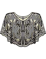 SATINIOR Women's 1920s Sequin Shawl Wrap Bridal Shawl Cover up Beaded Evening Cape