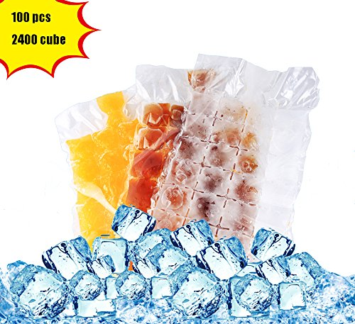 Bettli Disposable ice Cube Bag, Keep Food Fresh Outdoors, Convenient and Healthy, Easy Release, No Spill Ice Cube, Stackable, Compact, Odor Free Ice Cube-100 Pieces by Bettli