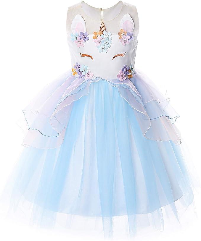 Umupi Disfraz Unicornio Niña Flor Vestido Princesa Fiesta De ...