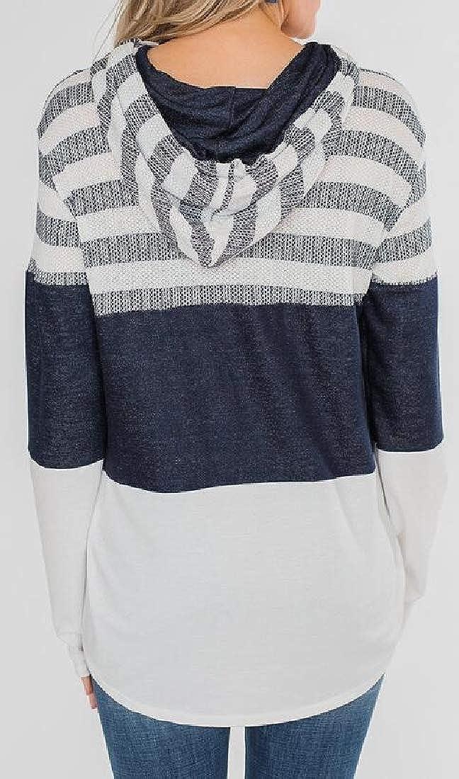YYG Womens Casual Loose Hooded Stripe Color Block Sweatshirt Hoodie Pullover
