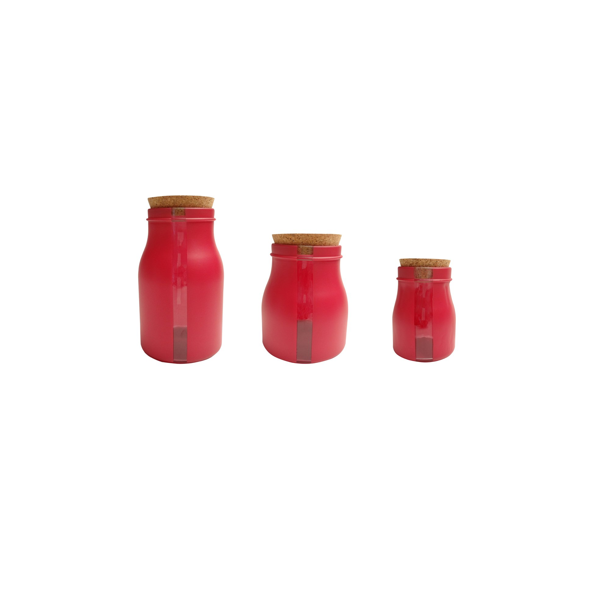 French Home Set of 3, 68-ounce,40-ounce,8.5-ounce Red Vertical Window Jars