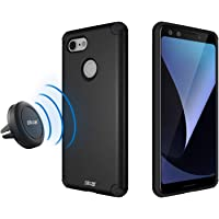 Olixar Google Pixel 3 Tough Magnetic Case & Car Holder - Rugged Heavy Duty Case - Car Holder Included - Magnus - Black