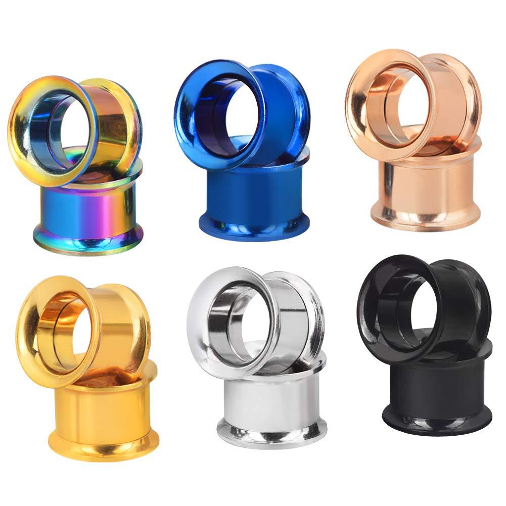Longbeauty 6 Pair Stainless Steel Screwe Flesh Tunnel Expander Eer Plug Gauge Earlets 6 Colors 8MM by Longbeauty