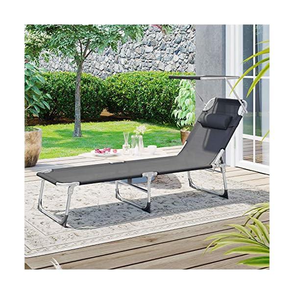 614pLGv0OcL SONGMICS Sonnenliege, Liegestuhl, Gartenliege, mit Kopfstütze und Sonnendach, Rückenlehne verstellbar, leicht, klappbar…