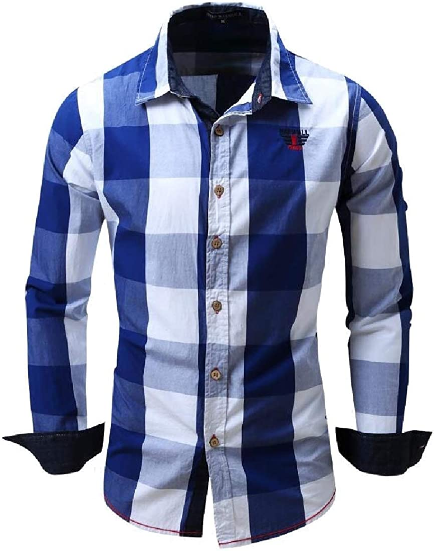 RRINSINS Mens Checked Color Block Long Sleeve Non-Iron Plaid Shirt Top