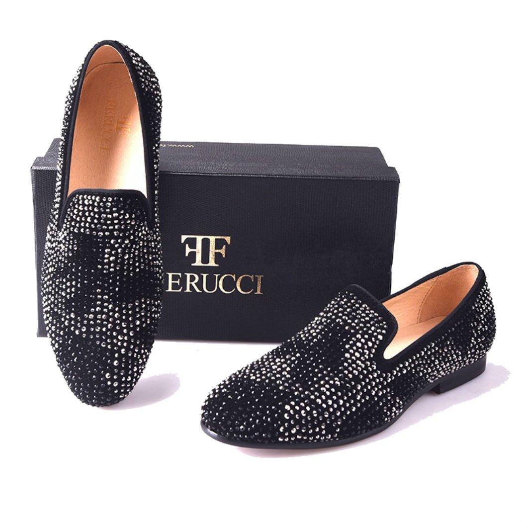 d22ecd61f97 FERUCCI Men Black Slippers Loafers Flat with Crystal GZ Rhinestone
