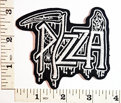 [White Diavola Italian Pizza Slice Fast Food patch Symbol Jacket T-shirt Patch Sew Iron on Embroidered Sign Badge] (Costumes Pizza Hat)