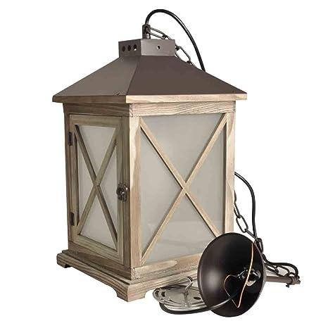 Decoluce Vintage Fire Lantern Wood Hanging Light Electric Hurricane ...