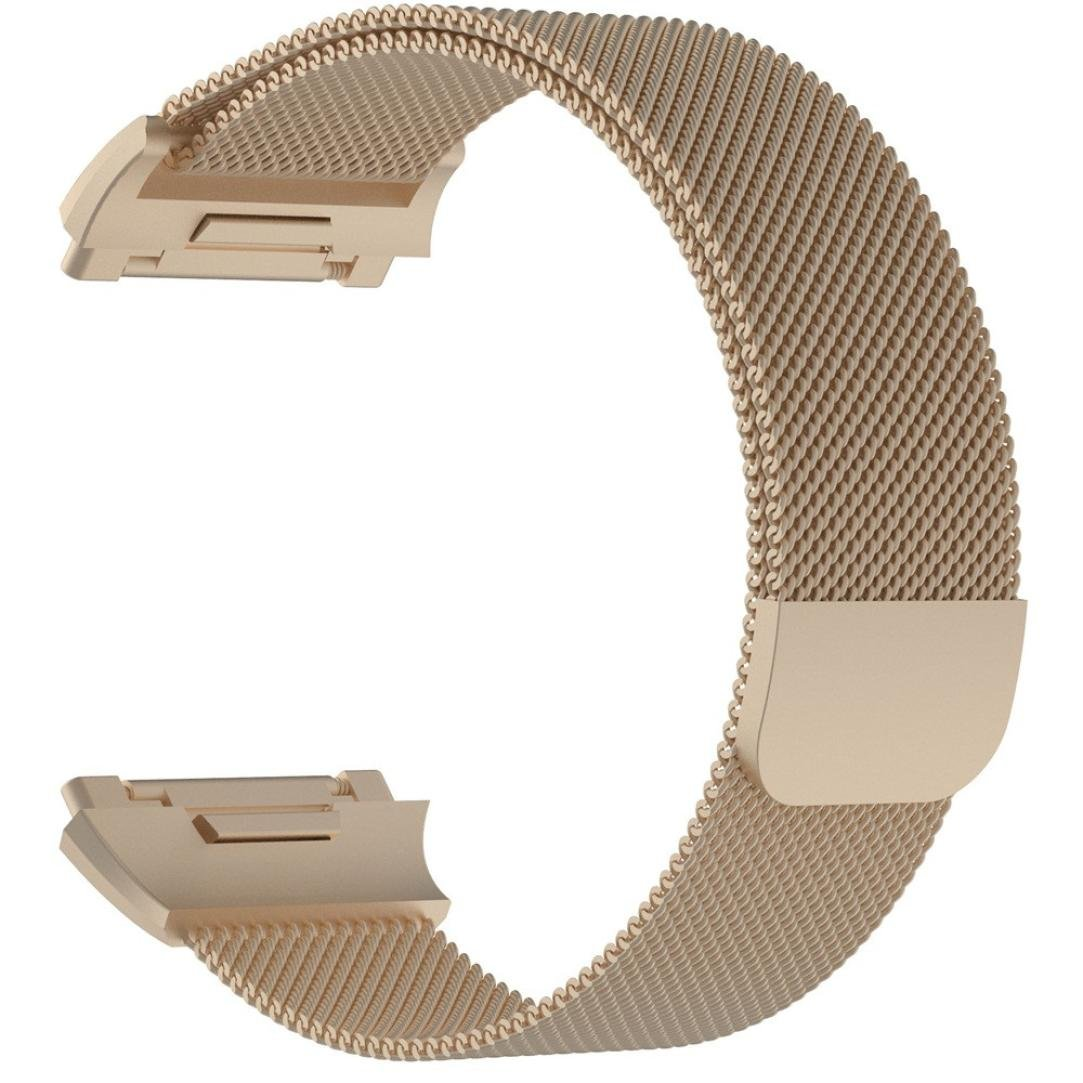 For Fitbit Ionic Bands, Gotd Magnetic Lock Milanese Loop Stainless Steel Strap WristBand Sports Fitness Replacement Band For Fitbit Ionic, Large Women Men (Khaki)