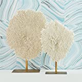 Tozai Home Set of 2 White Poly Coral Sculptures on Metal Stand