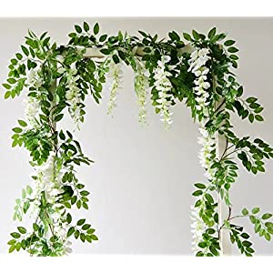 6.6ft Artificial Flowers Silk Wisteria Flowers Ivy Vine Green Leaf Hanging Vine Garland for Wedding Party Home Garden Wall Decoration Pack og 2 91