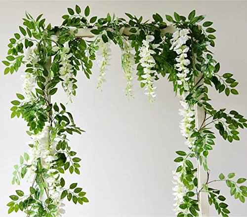 66ft-Artificial-Flowers-Silk-Wisteria-Flowers-Ivy-Vine-Green-Leaf-Hanging-Vine-Garland-for-Wedding-Party-Home-Garden-Wall-Decoration-Pack-og-2