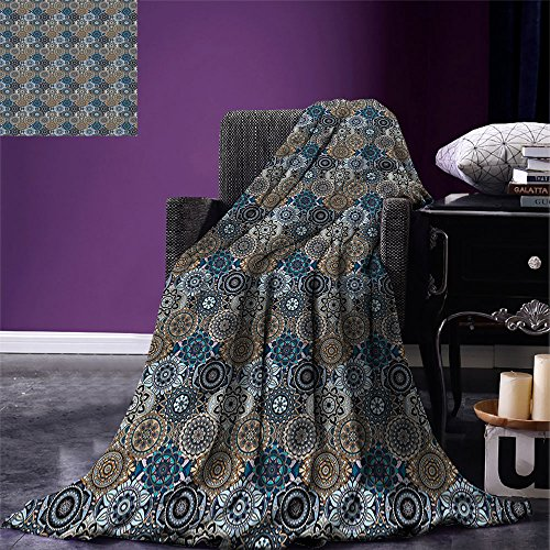 smallbeefly Moroccan Digital Printing Blanket Abstract Composition with Ancient Cultural Rich Flora and Arabian Design Elements Summer Quilt Comforter Multicolor by smallbeefly