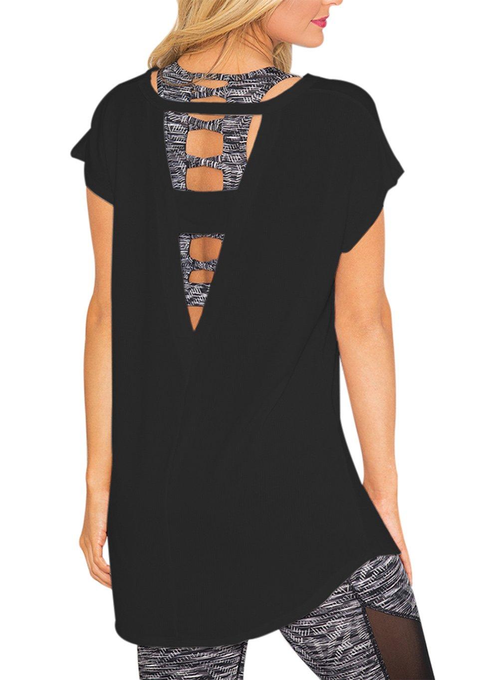 SOLO POP Women's Loose Tops Large V Back Cut Out Blouses Open Strap Workout Casual Shirt(Black,L)