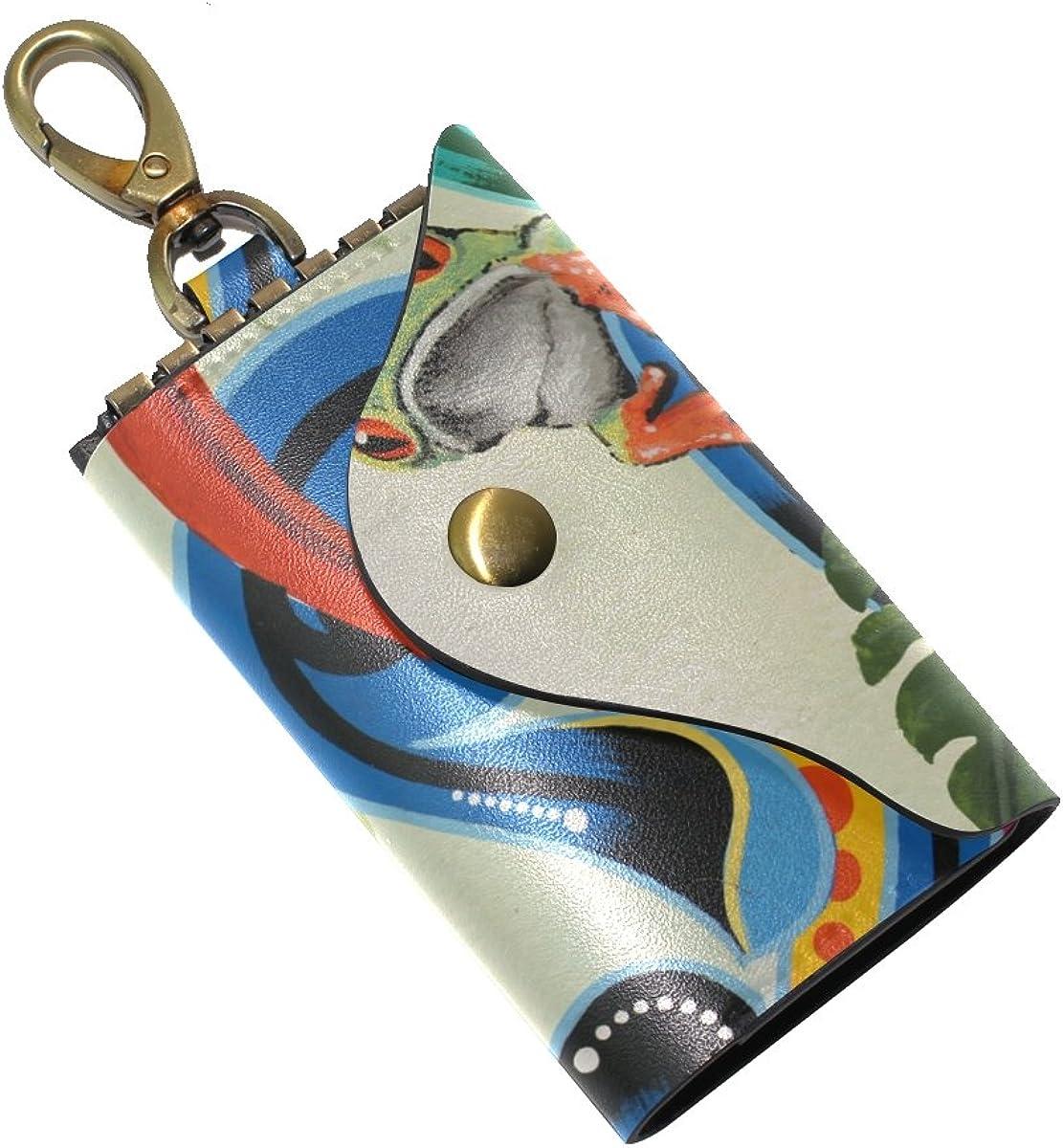 DEYYA Frog Leather Key Case Wallets Unisex Keychain Key Holder with 6 Hooks Snap Closure