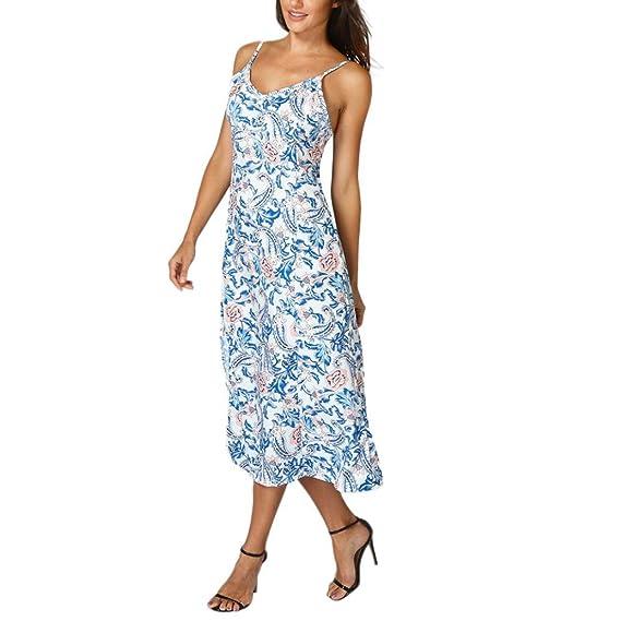 Vestido de mujer- SHOBDW Verano playa vestido de noche floral bohemio fiesta de la tarde