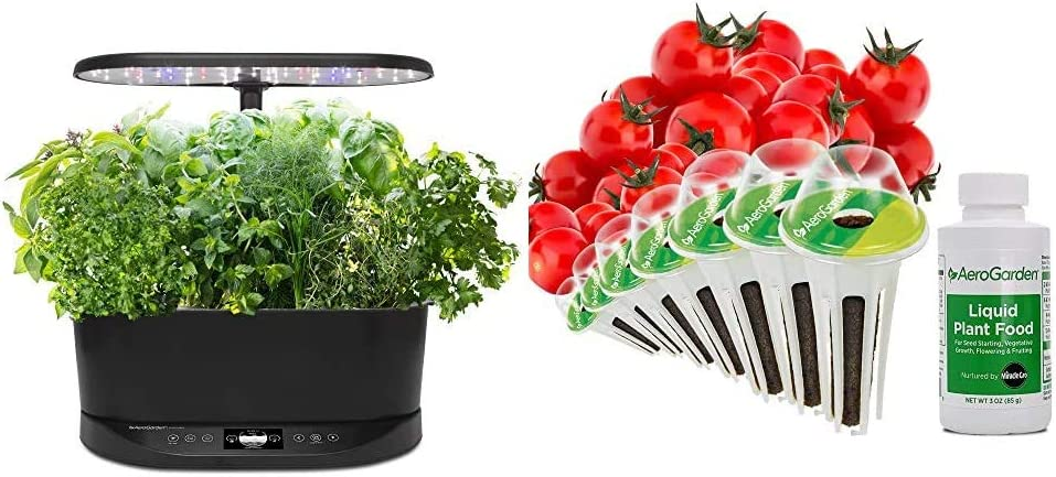 AeroGarden Bounty Basic Indoor Hydroponic Herb Garden, Black & Red Heirloom Cherry Tomato Seed Pod Kit