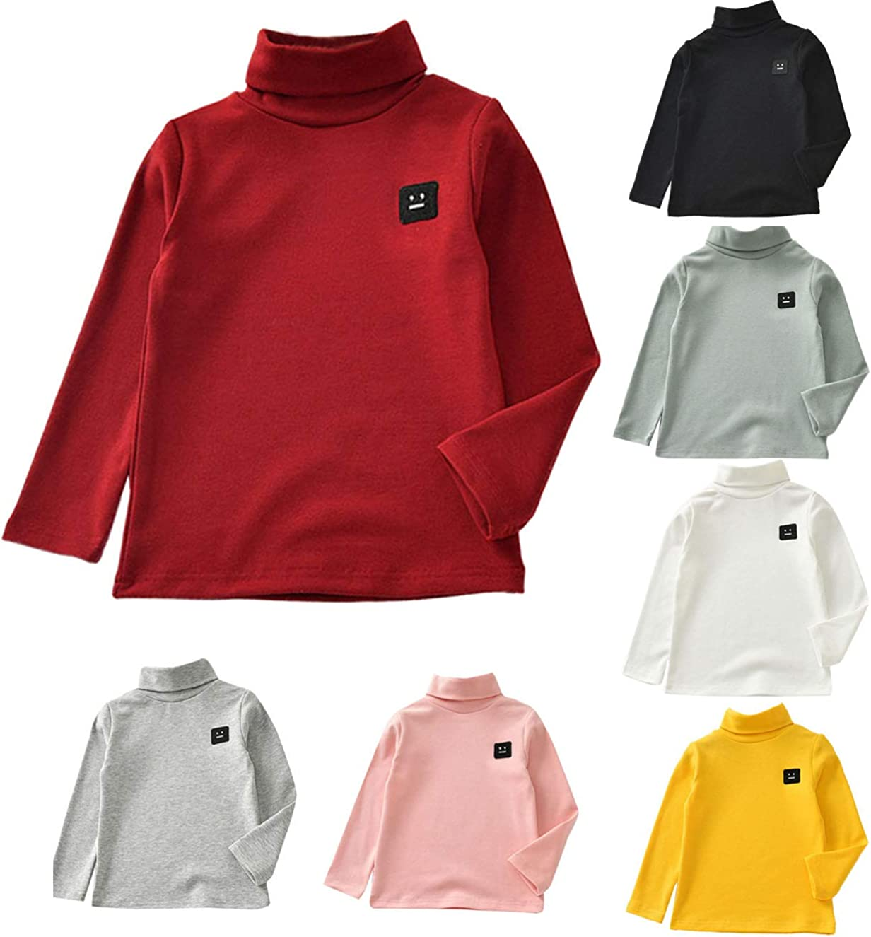 Zerototens Kids Plain T-Shirt,1-5 Years Old Toddler Infant Baby Boys Girls Long Sleeve Turtleneck Sweatshirt Tops Children Basic Tee Casual Warm Outfit Clothes Red