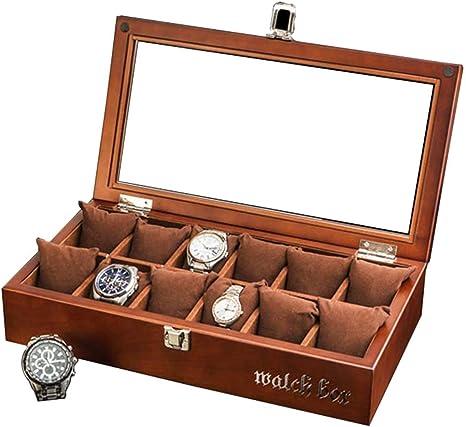Retro Caja De Reloj De Techo Solar De Madera 12 Pack Reloj Caja De ExhibicióN ColeccióN ColeccióN Caja De JoyeríA Joyero: Amazon.es: Hogar