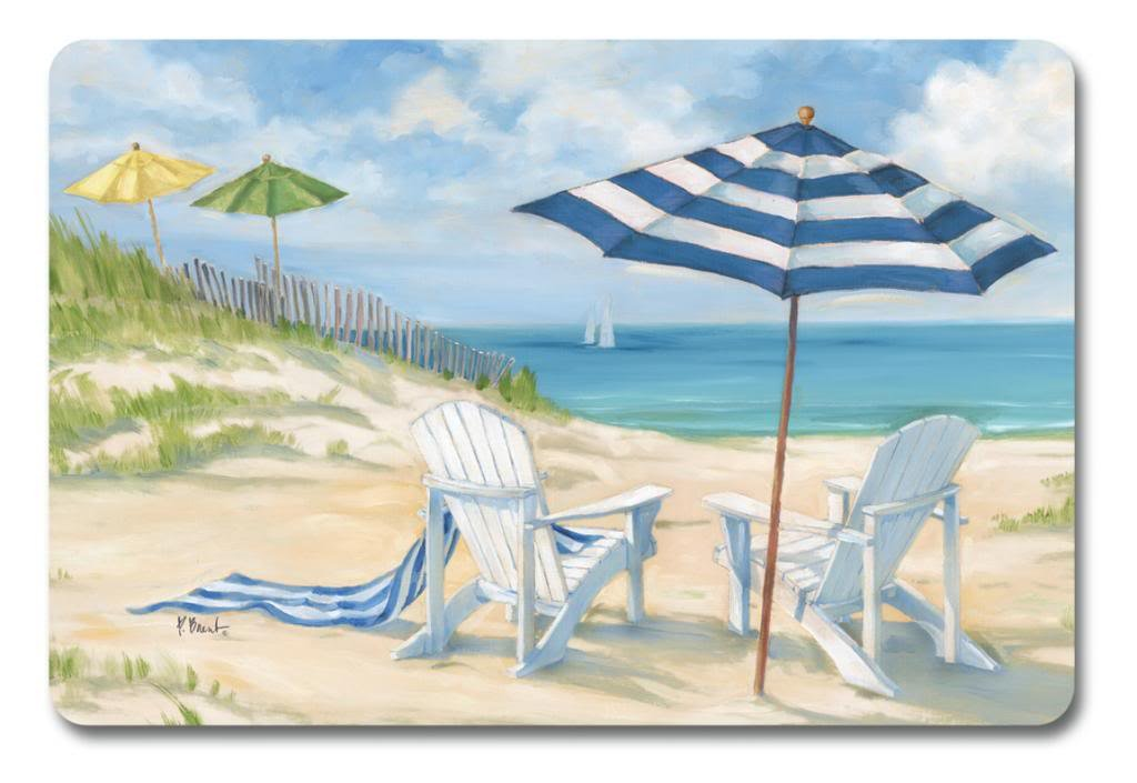 Placemats Vinyl Washable for Table Set of 8 Nautical Decor Beach Decor Ocean by Keller Charles (Image #1)